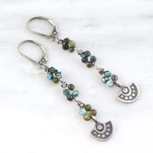 Wanderer Mini Pendant African Turquoise Long Earrings by Sarah Deangelo