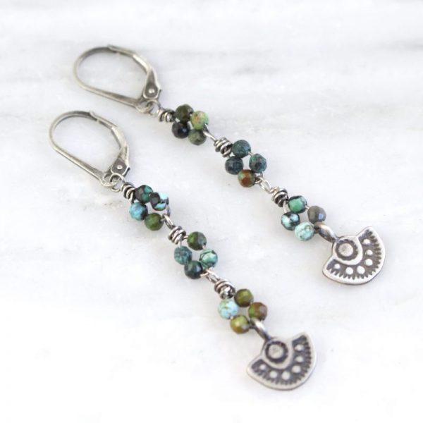Wanderer Mini Pendant African Turquoise Long Earrings by Sarah Deangelo