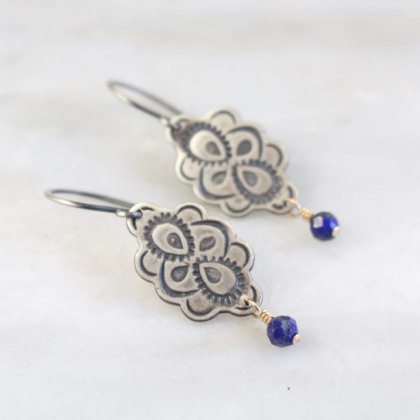 Peacock Mandala Lapis Dangle Earrings by Sarah Deangelo