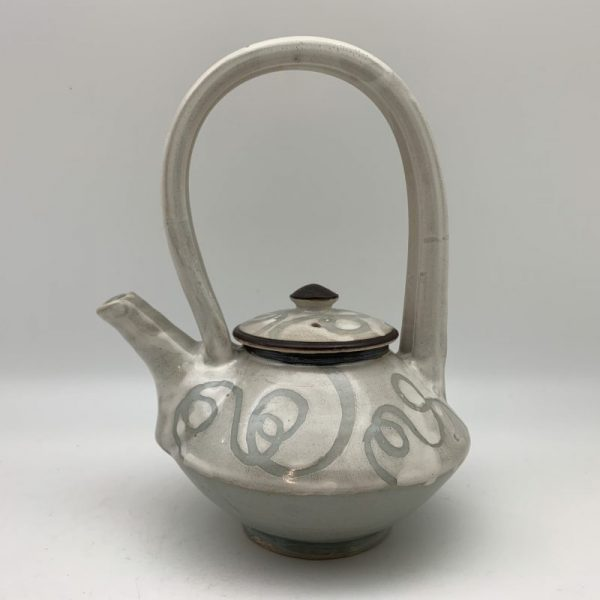 White and Celadon Porcelain Teapot by Margo Brown