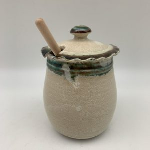 White and Green Honey Pot by Margo Brown