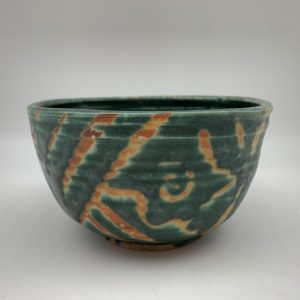 Green Patterned Porcelain Bowl by Margo Brown