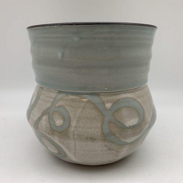 Celadon and White Porcelain Utensil Holder by Margo Brown