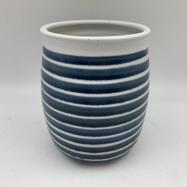 Horizontal Striped Porcelain Jar by Margo Brown