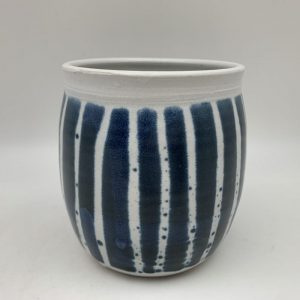 Vertical Striped Porcelain Jar by Margo Brown