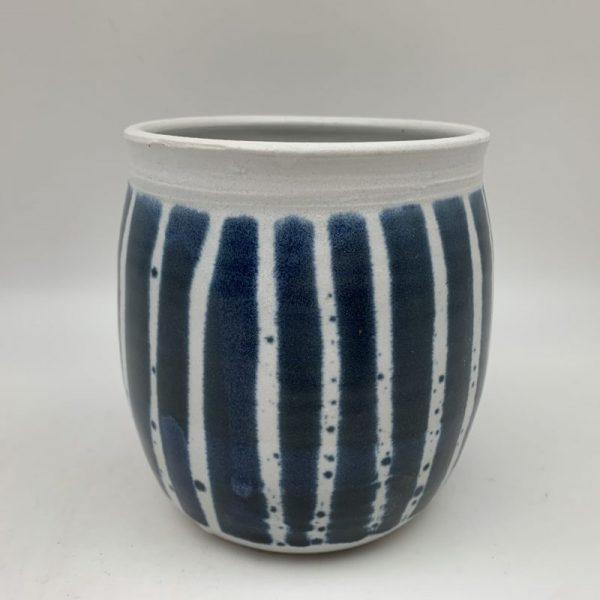 Vertical Striped Porcelain Jar by Margo Brown