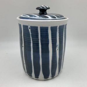 Striped Porcelain Cookie Jar by Margo Brown