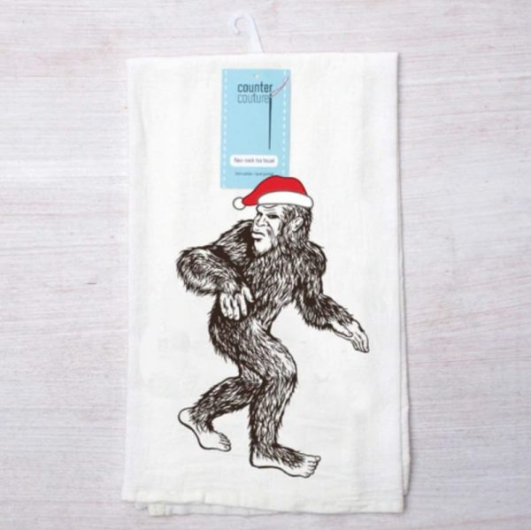 Santa Sasquatch Flour Sack Towel by Counter Couture