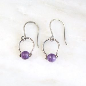La Cloche Amethyst Earrings by Sarah Deangelo