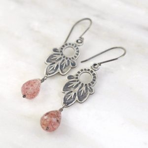 Hishi Strawberry Quartz Earrings by Sarah Deangelo