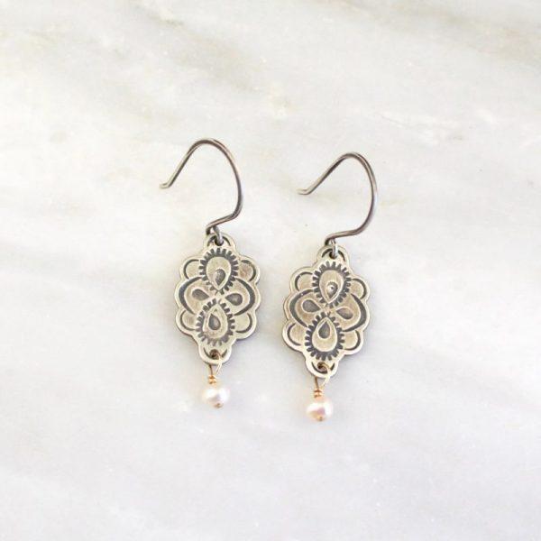 Peacock Mandala Pearl Dangle Earrings by Sarah Deangelo