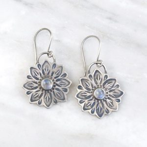 Large Moonstone Flower Earrings Sarah Deangelo