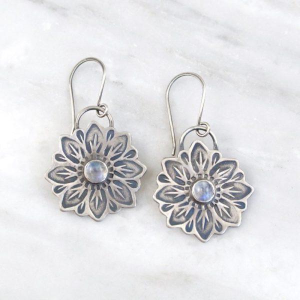 Large Moonstone Flower Earrings Sarah Deangelo