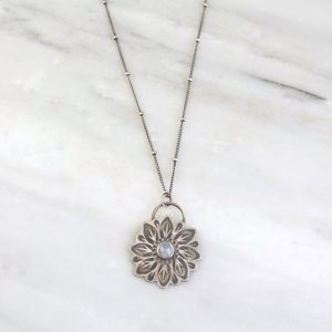 Large Moonstone Flower Necklace Sarah Deangelo