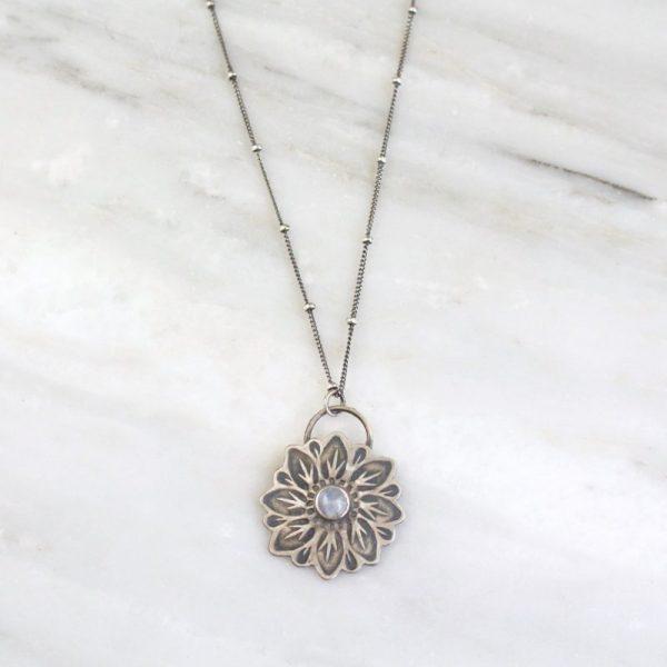 Large Moonstone Flower Necklace Sarah Deangelo