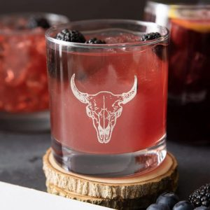 Buffalo Skull Rocks Glass by Counter Couture