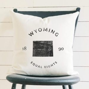 Wyoming State Badge and Motto Cotton Canvas Pillow Indigo Tangerine
