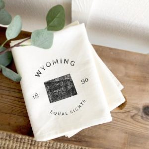 Wyoming State Badge and Motto - Cotton Tea Towel Indigo Tangerine
