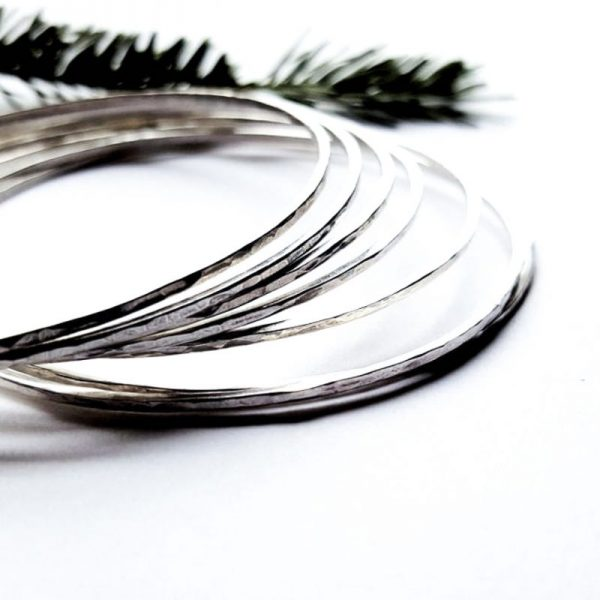Hammered Sterling Silver Skinny Bangles - Prisms by Andewyn Moon