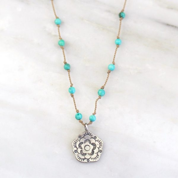 Cactus Flower Turquoise Knotted Necklace Sarah Deangelo
