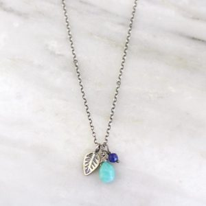 Leaf Charm Amazonite & Lapis Necklace Sarah Deangelo