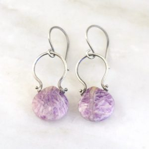 Purple Lace Agate Pinned Earrings Sarah Deangelo
