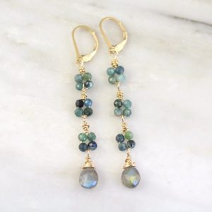 Blue Tourmaline & Labradorite Long Gold Earrings Sarah Deangelo