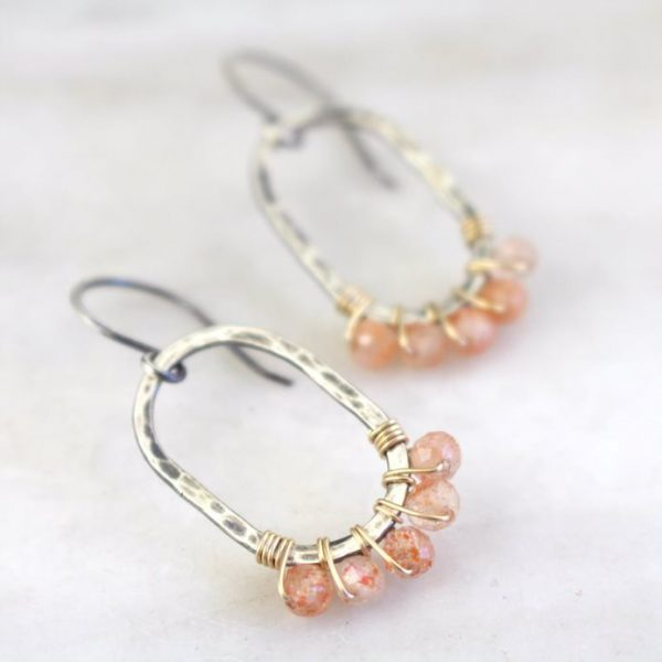 Sunstone Wrapped Hammered Mixed Metal Earrings Sarah Deangelo