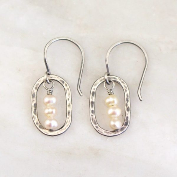 Stacked Pearls Mini Hoop Earrings Sarah Deangelo