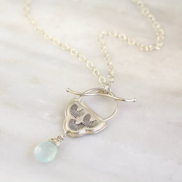 After the Rain Blue Chalcedony Toggle Necklace Sarah Deangelo