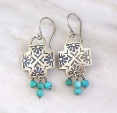 Sun Cross Turquoise Earrings Sarah Deangelo