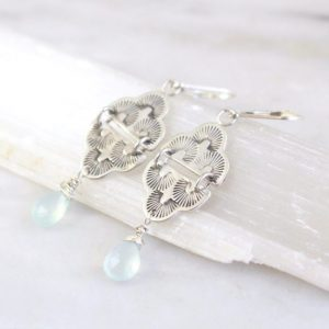 After the Rain Swing Blue Chalcedony Earrings Sarah Deangelo