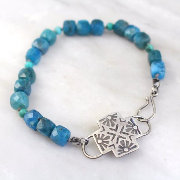 Sun Cross Apatite & Turquoise Bracelet Sarah Deangelo