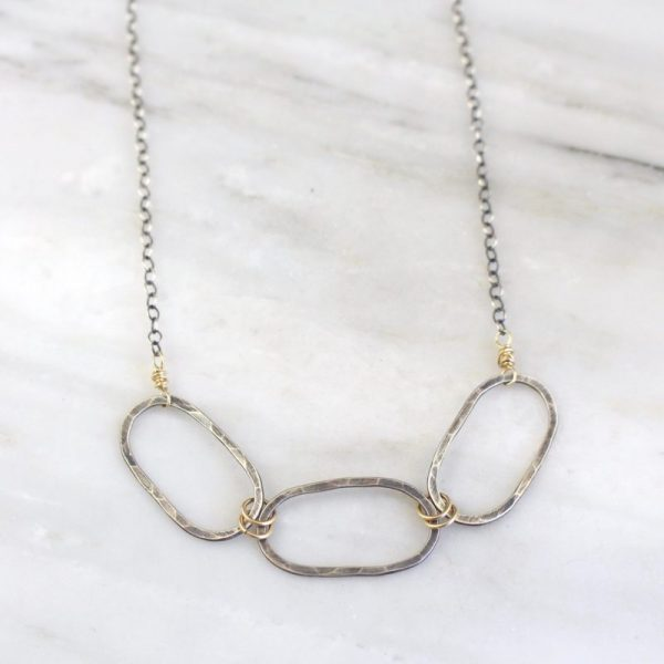 Hammered Mixed Metal Linked Oval Necklace Sarah Deangelo