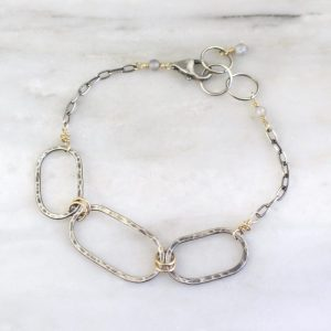 Hammered Mixed Metal Linked Oval Bracelet Sarah Deangelo