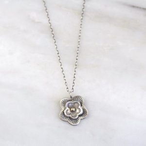 Layered Cactus Flower Mixed Metal Necklace Sarah Deangelo
