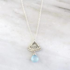 Asmi Triangle Blue Chalcedony Necklace Sarah Deangelo
