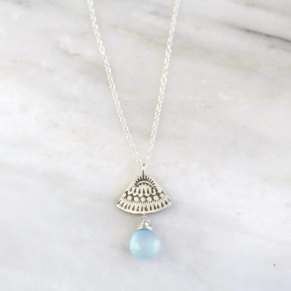 Asmi Triangle Blue Chalcedony Necklace Sarah Deangelo