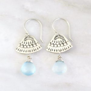 Asmi Triangle Blue Chalcedony Earrings Sarah Deangelo