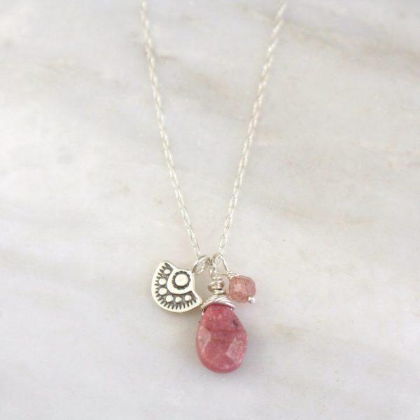 Wanderer Mini Rhodonite & Strawberry Quartz Necklace Sarah Deangelo