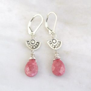 Wanderer Mini Rhodonite Drop Earring Sarah Deangelo