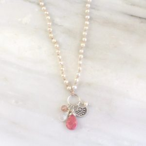 Wanderer Mini Pink & White Charm Necklace Sarah Deangelo