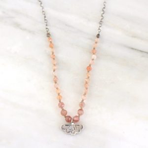 Southwest Lace Charm Knotted Stone Necklace Sarah Deangelo