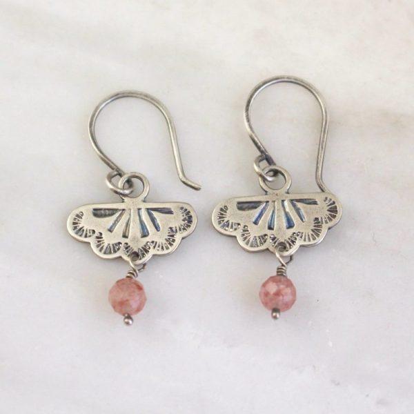 Southwest Lace Strawberry Quartz Dangle Earrings Sarah Deangelo