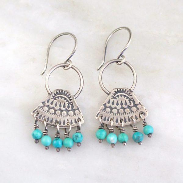 Asmi Triangle Loop & Turquoise Earrings Sarah Deangelo