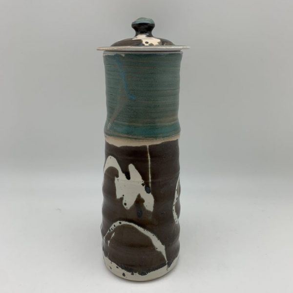 Turquoise and Brown Porcelain Spaghetti Jar by Margo Brown