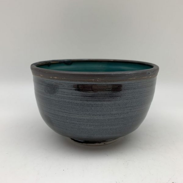 Small Black Bowl With Turquoise Inner by Margo Brown