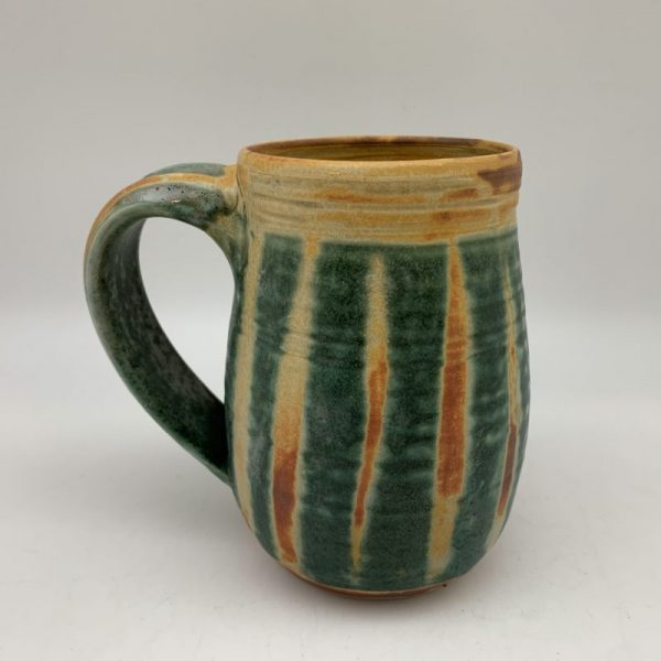 Green and Brown Striped Mug by Margo Brown