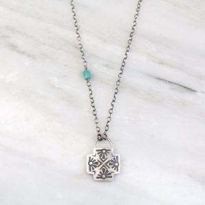 Sun Cross Chain Turquoise Necklace Sarah Deangelo
