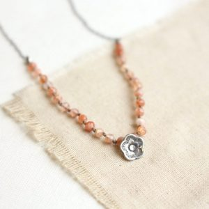 Cactus Flower Sunstone Knotted Necklace Sarah Deangelo